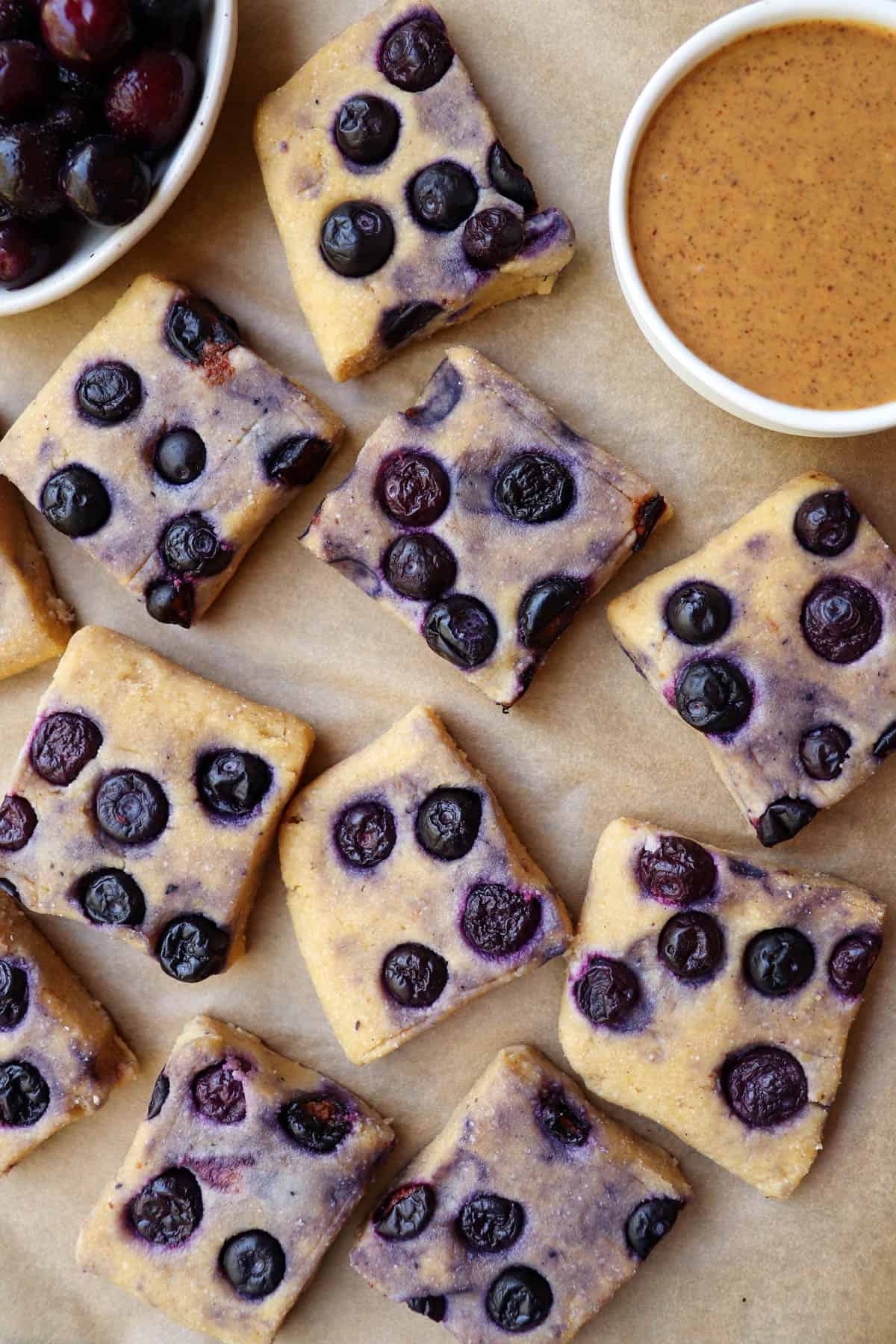 Top view of cut cup blueberry fudge bars.