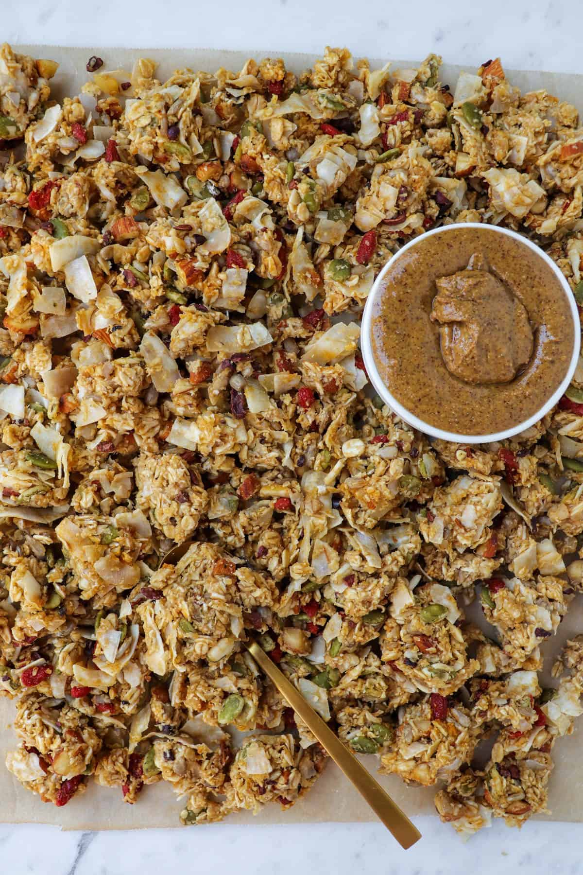 No-bake granola clusters on baking paper.