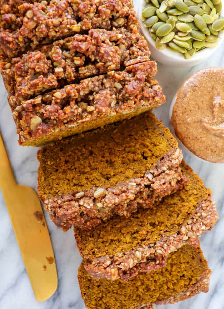 Close up shot of sliced vegan pumpkin bread.