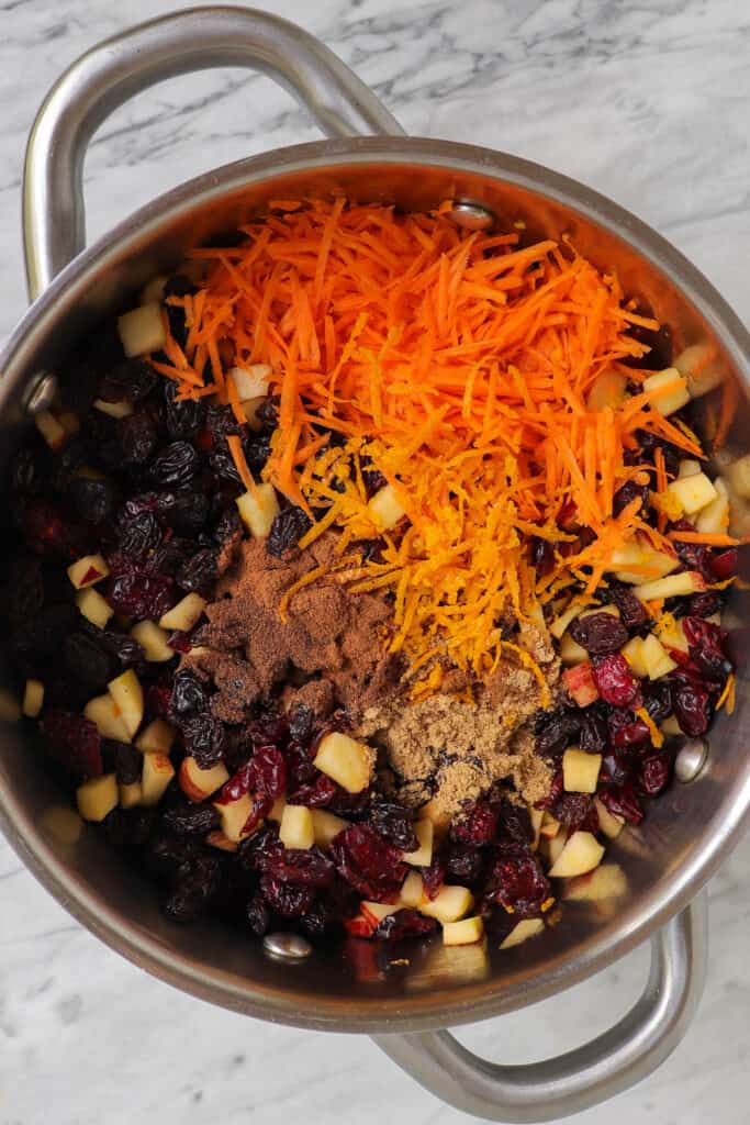 Fruit mince ingredients in a pot.