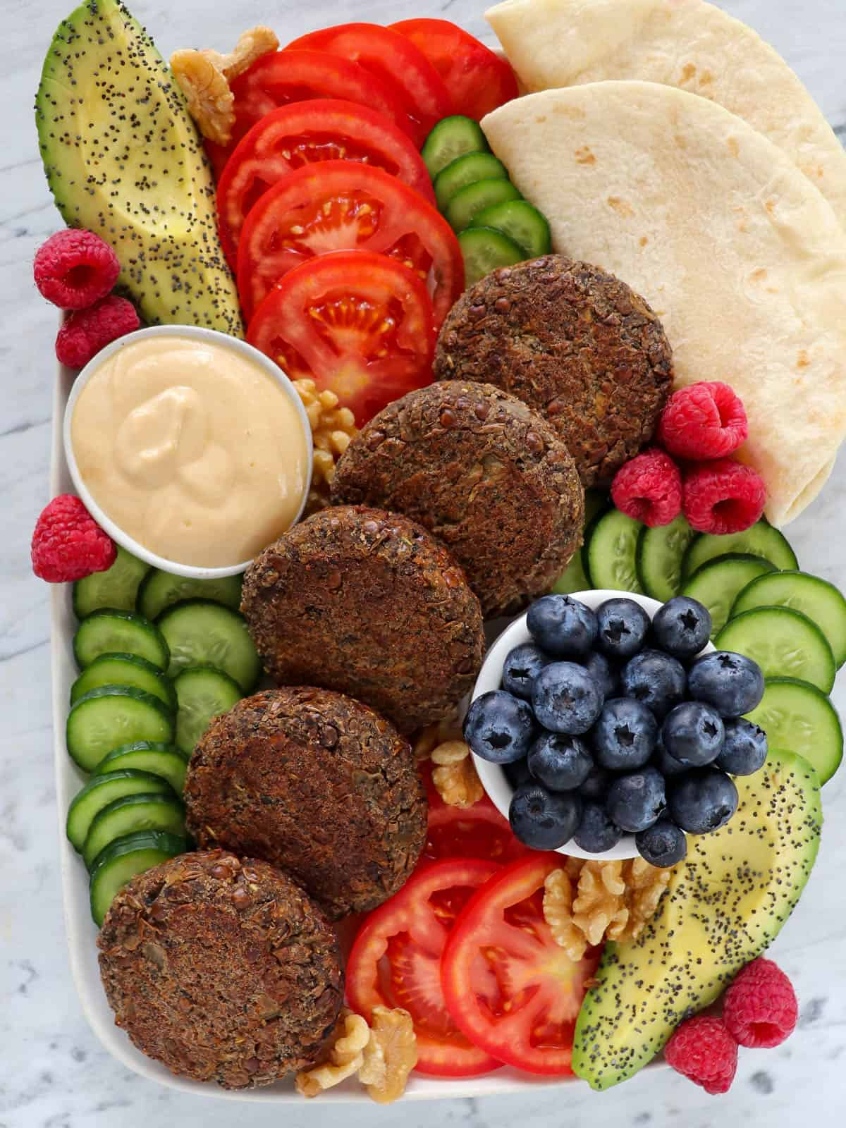 Breakfast platter with the vegan sausage patties.
