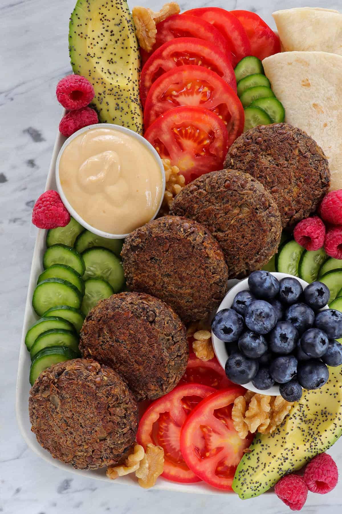Cropped in shot of vegan breakfast board.