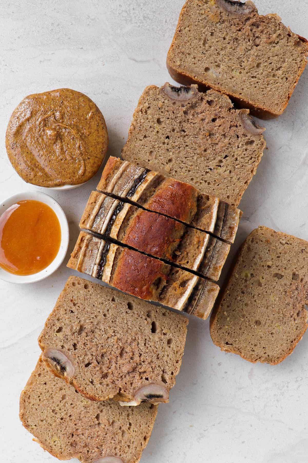 Sliced up bread for inside shot.