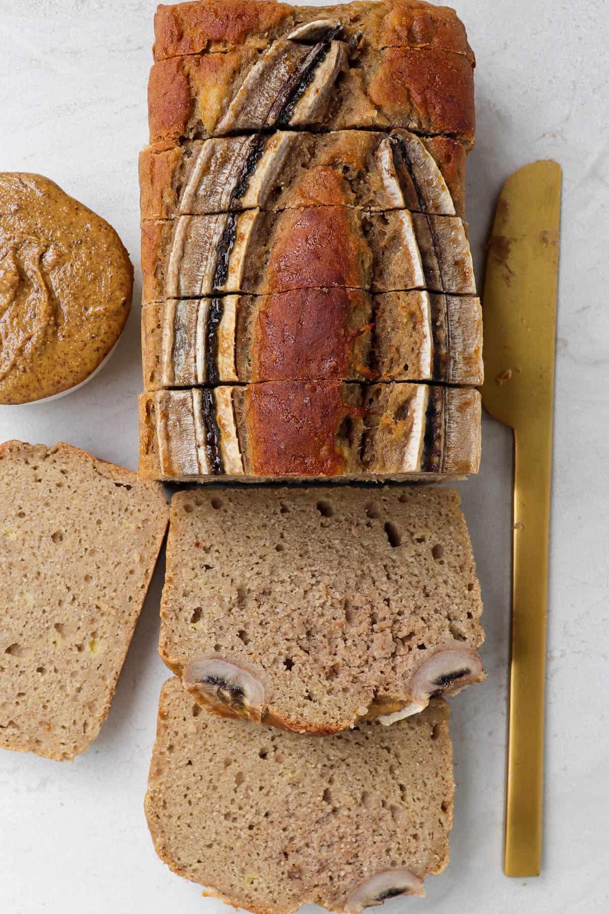 Close up shot of sliced banana bread.