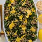 Warm Cheesy Kale Mushroom Quinoa Salad