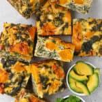 Kale, Pumpkin and feta Frittata