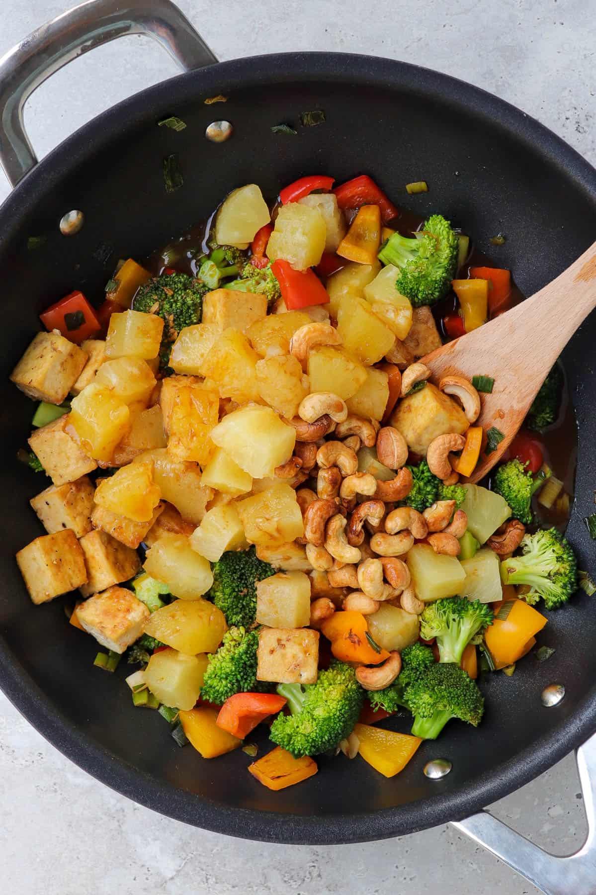 Stir fry in wok.