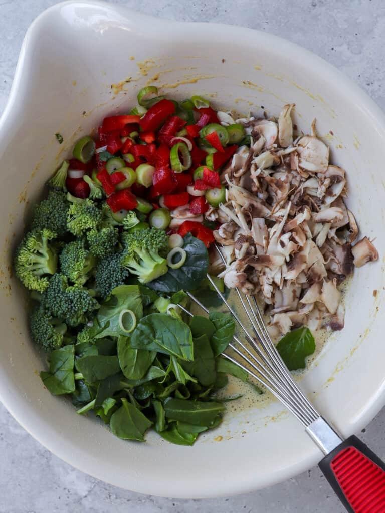 Vegan frittata ingredients in mixing bowl.