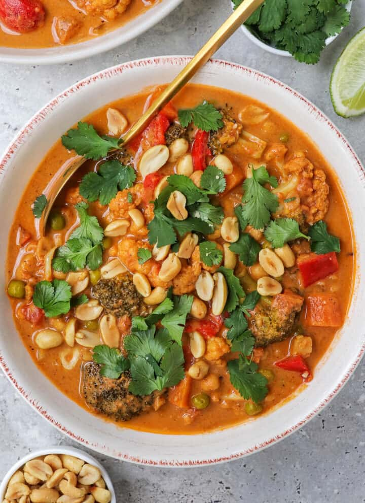 Curry in a bowl with gold spoon. Roasted peanuts and coriander leaves on top.