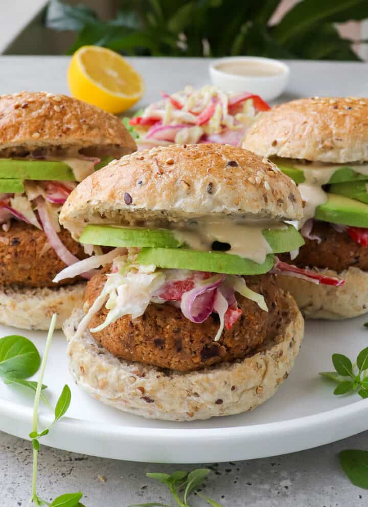 Side shot of chickpea burgers.