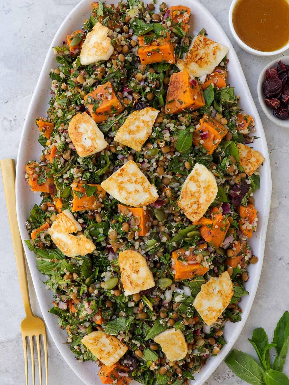 Salad on serving platter.