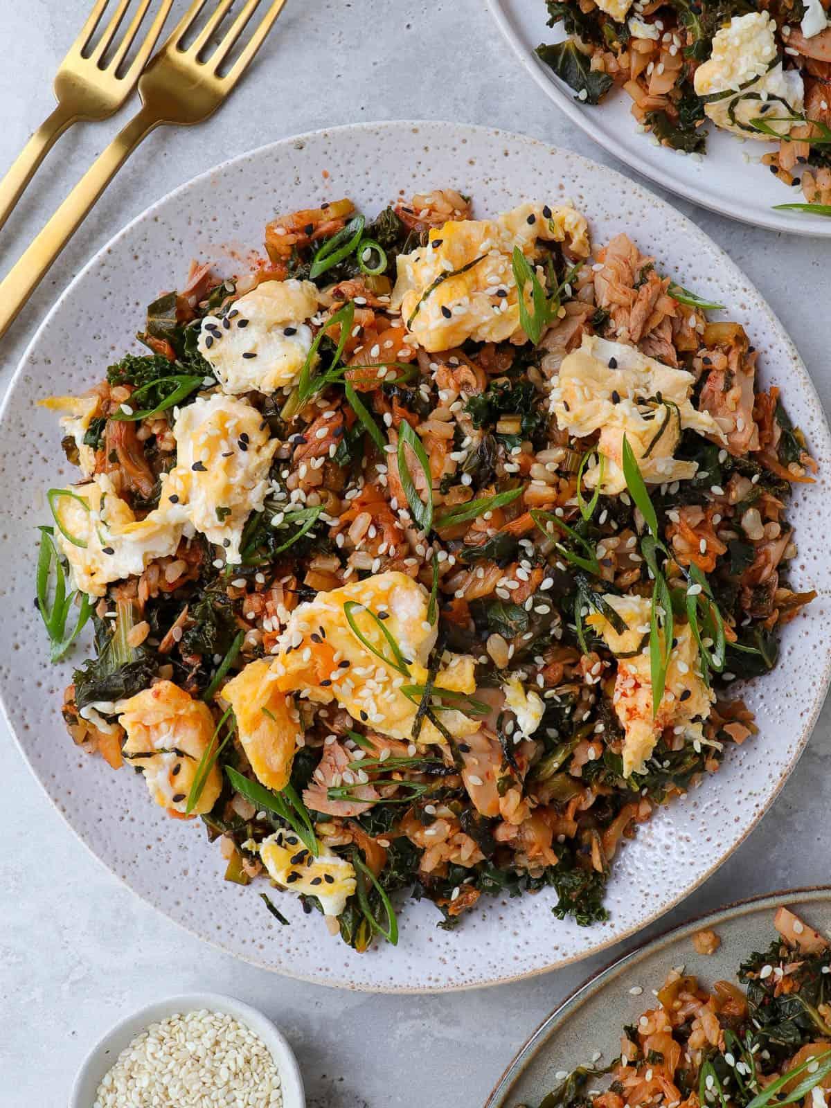 Kimchi fried rice on plate.